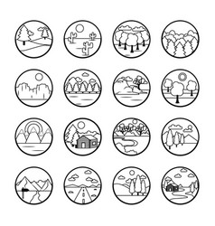 Trees and landscapes icon set line style vector