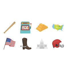 usa country icons in set collection for design vector image