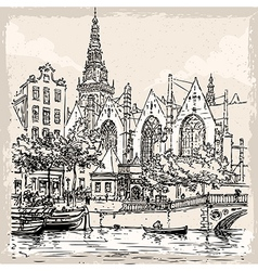 vintage hand drawn view old church in amsterdam vector image