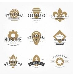 Vintage Logos Design Hand Drawn Templates Set vector image