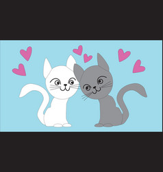 White and gray cat lovers vector