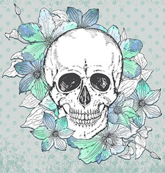 with hand drawn human skull clematis flower vector image