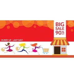 Women Hurry Run to Sale Shop vector image