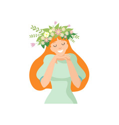 Young beautiful long haired woman with flower vector
