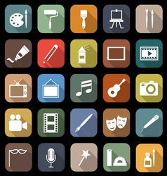 Art flat icons with long shadow vector image vector image