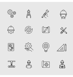 Engineering simple icons Machine engineers and vector image vector image