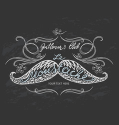 hand drawn mustache with lettering and vignettes vector image