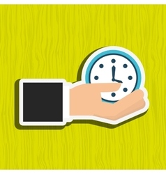 hand with clock design vector image