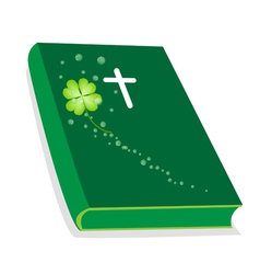 Holy Bible with Wooden Cross and Shamrock vector image