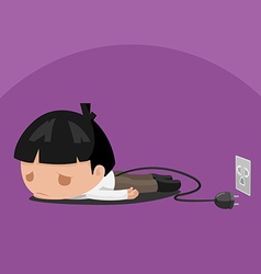 Man Worker Tired Power Plug vector image vector image