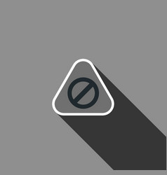 warning sign icon with long shadow vector image
