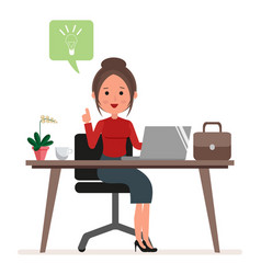 businesswoman or secretary works at the computer vector image