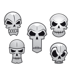 Cartoon skulls set with danger emotions vector image vector image