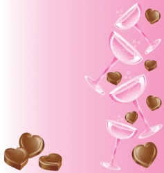 champagne and chocolates vector image vector image