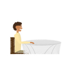 Drawing man alone sitting date vector