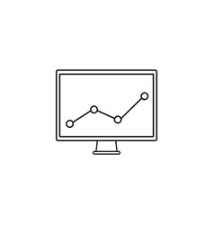 market monitoring line icon computer analysis vector image vector image