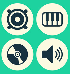 Music icons set collection of cd octave sound vector