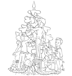 children and christmas tree coloring page vector image vector image