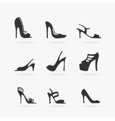 Set of Women Shoes Silhouette vector image