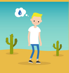 thirsty blond boy dreaming about water flat vector image