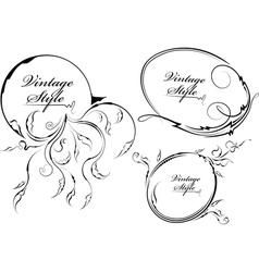 three decorative oval frame vector image vector image