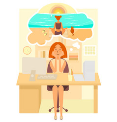 woman works in the office and dreams about going vector image
