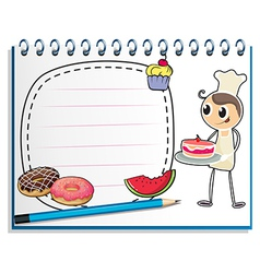 A notebook with a drawing of a chef and foods vector image