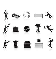 Black volleyball icons set vector