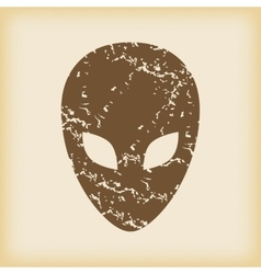 Grungy alien icon vector