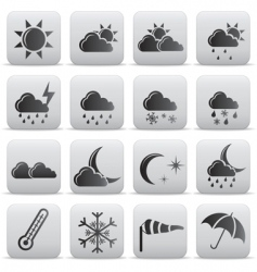 weather icons grey buttons vector image