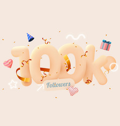 100k or 10000 followers thank you pink heart vector image