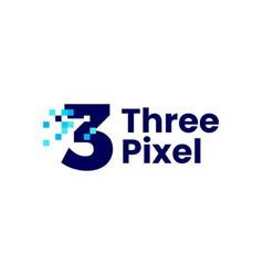 3 three number pixel mark digital 8 bit logo icon vector image