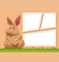 a rabbit on blank note vector image