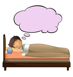 A young boy with an empty thought while sleeping vector image