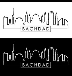 Baghdad skyline linear style editable file vector