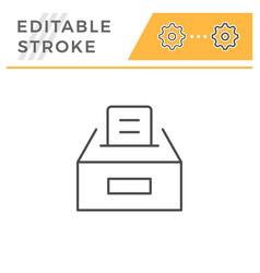 ballot box editable stroke line icon vector image