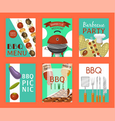 Barbeque picnic party cards meat steak roasted on vector