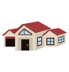 big colorful house with garage graphic vector image
