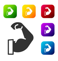Black bodybuilder showing his muscles icon vector