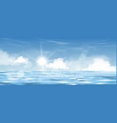 Blue sky with sun shinung on sea horizon vector