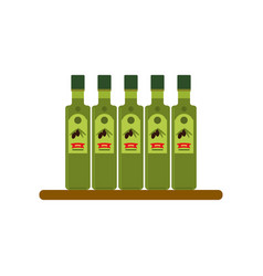 bottles of olive oil flat style vector image