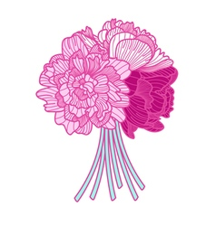 Bouquet made of peonies on white background vector