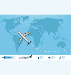 Business trip banner with airplane and world map vector