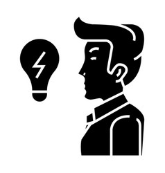 businessman side view close up - lamp - creativity vector image