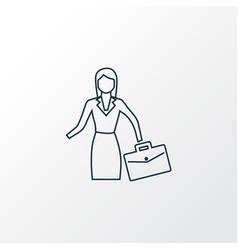 businesswoman icon line symbol premium quality vector image