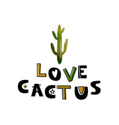 card with green cactus and text like a cactus vector image