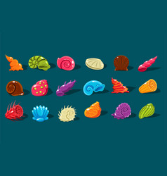 Cartoon set with shiny sea shells of different vector