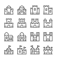 castle line icon set vector image