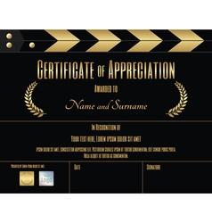 Certificate appreciation template movie theme vector