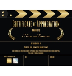Certificate of appreciation template movie theme vector